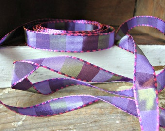 2 Yards - Lavender Purple Green Checked Ribbon