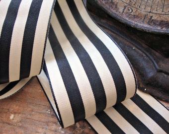 French Country Black and Cream Stripe Taffeta Ribbon