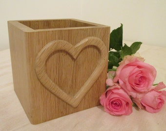 Oak Planter with carved heart