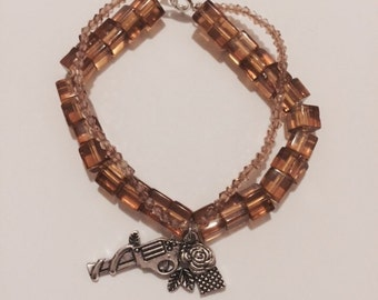 Cube Glass Bead Bracelet with Guns and Roses Charm