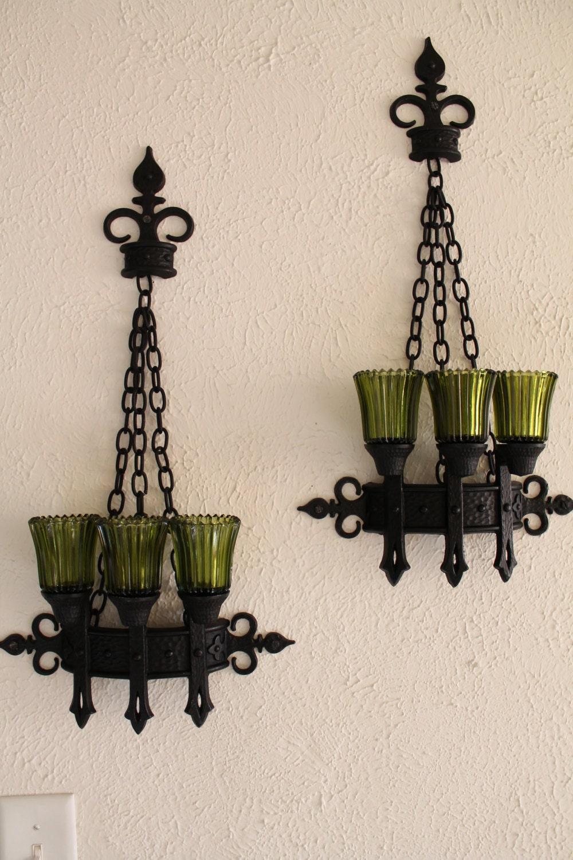 candle holder vintage set glass pillar wall by oldworldcharmme. Black Bedroom Furniture Sets. Home Design Ideas