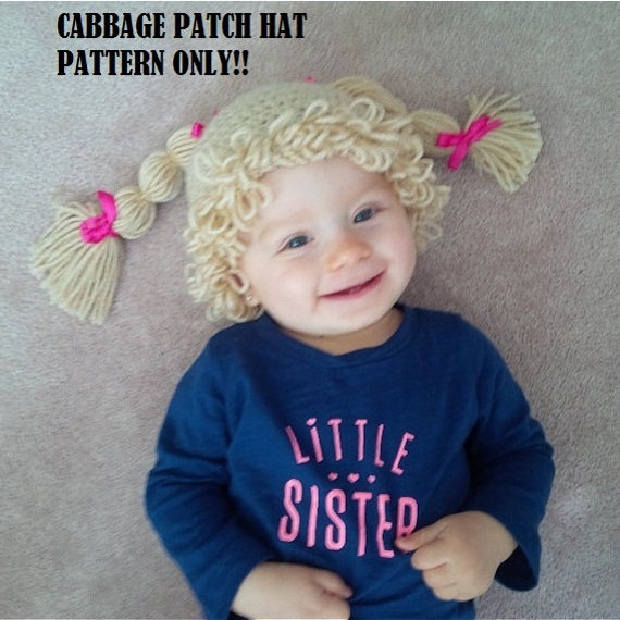 Crochet Cabbage patch wig pattern Cabbage Patch Hat Crochet