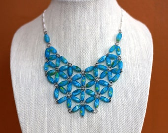 Blue Glass Bead Statement Necklace