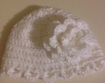 Crocheted Baby Beanie with Flower in White