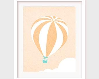 Printable Nursery Art, Hot Air Balloon Art, Hot Air Balloon Decor, Hot Air Balloon Decoration, Nursery Printable, Nursery Wall Decor