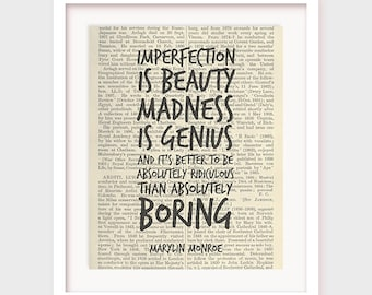 Inspirational Quote Poster, Imperfection is beauty, It's better to be ridiculous, Marylin Monroe Quote, Printable Wall Art Print