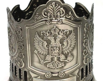 IMPERIAL EAGLE Russian Coat  Arms Tea Glass Metal Holder Classic Gift #022