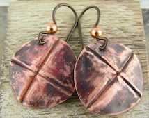 Copper Disk Earrings - Round Drop, Fold Formed Circle Medallions - Hypoallergenic Niobium Earwires - Rustic Cross Design - Australian Made