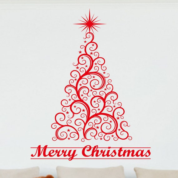 Christmas Wall Decor Images : Christmas decor wall decal merry