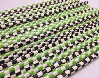 Paper Straws, 25 Green and Black Paper Straw Mix, Assorted Green and Black Checked Paper Straws