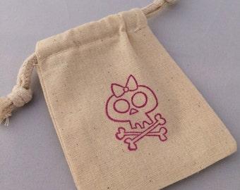 Pink Pirate Favor Bags: Drawstring Pirate Party Bags, Muslin Pirate Goody Bags, Skull & Crossbone Treat Bags, Pirate Loot Bag