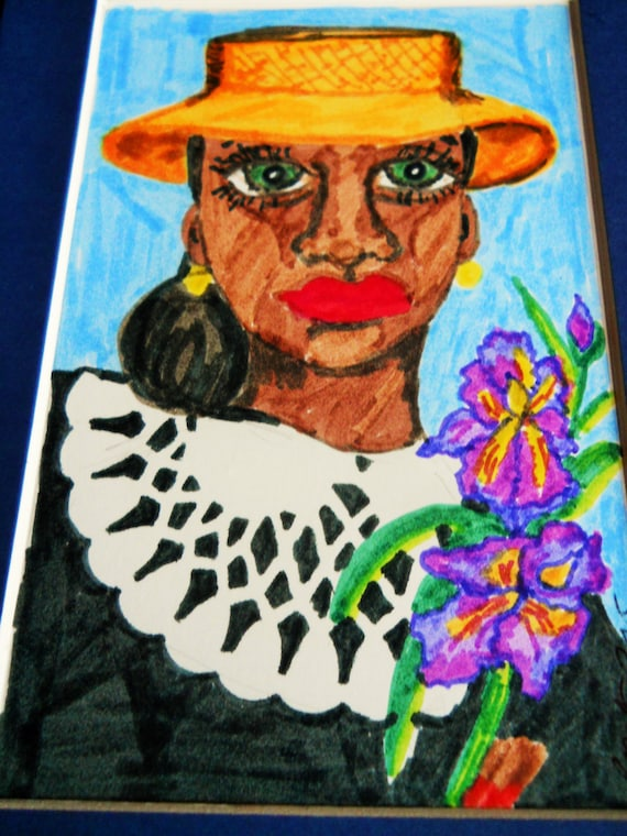 AGNES Hand Painted African American Blank Greeting Card/Portrait Black Art Easter Mother's Day Keepsake frameable art Note Card, Art Cards