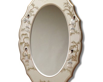 White lacquered Oval frame, Floral Japanese pattern
