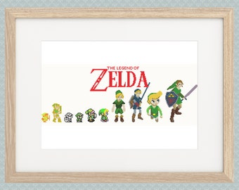 Link Evolution Cross Stitch Pattern - Zelda