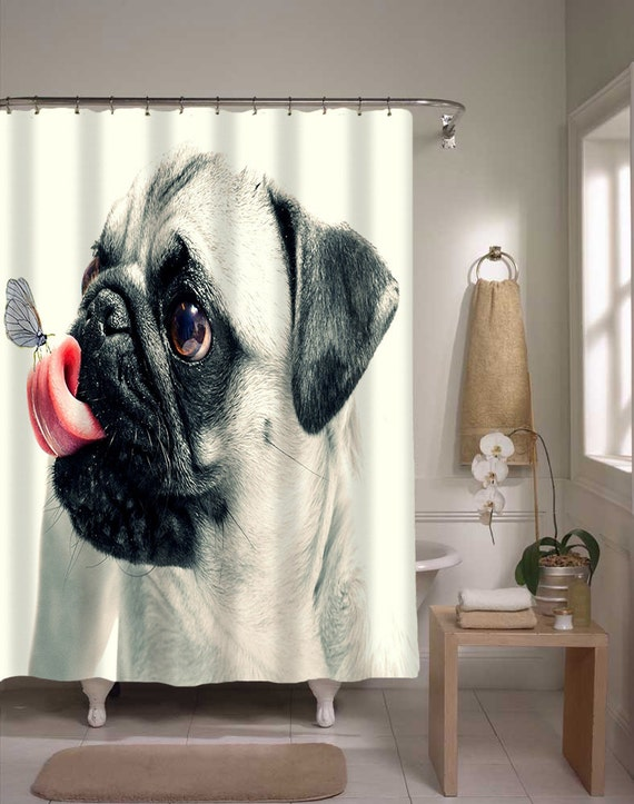 Pug Dog Shower Curtain Super Cute Animal Bathroom Decor Home