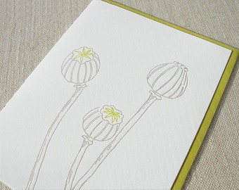 Botanical Letterpress Cards - Poppies - Set of 6
