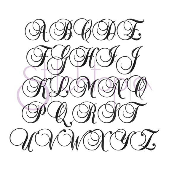 Swirl Script Embroidery Monogram Set 1 2 3 Machine