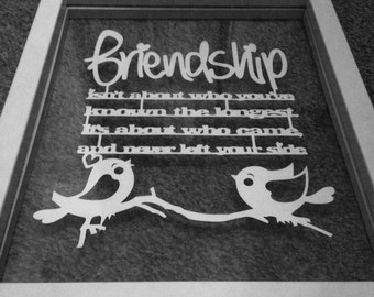 Handmade personalised Friendship Paper Cut in a Floating Frame