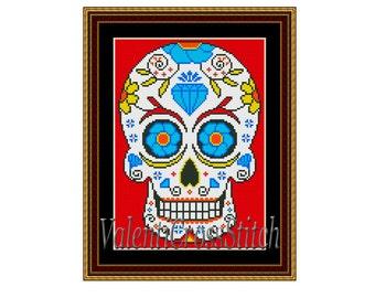 Sugar Skull Counted Cross Stitch Pattern, Mexican Cross Stitch, Skull, Sugar, Cross, Stitch, Counted, Patterns,PDF
