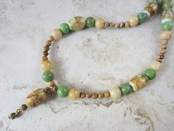 Yellow bead necklace. Brown beaded necklace. Green bead necklace. Unique boho necklace.  Green Pale Yellow Tan.  Natural colors.