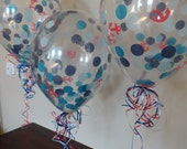 """3, 6, or 10 Count Large 16"""" Nautical Theme Confetti Balloons: Wedding, Shower, Birthday, Baby, 1st Birthday, Pool, Whale, Graduation, Summer"""