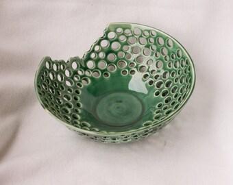 Green porcelain fruit bowl decorative green bowl ceramic bowl pottery bowl handmade pottery home decor