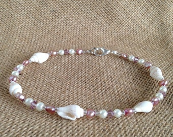 Seashell Anklet with Pink Pearls and Swarovski Crystals