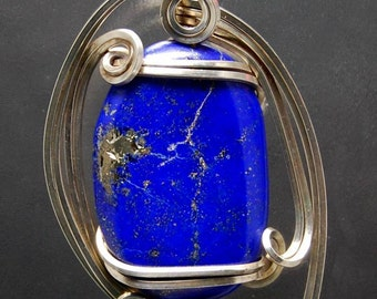 Wire Wrapped Pendant - Lapis Lazuli with Pyrite in Argentium Sterling Silver Sculptured Wire Pendant