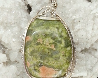 Wire Wrapped Pendant - Unakite and Argentium Sterling Silver Pendant