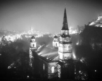 Edinburgh Print - Night Print - City - Church Print - Church Photography - Scotland - Black and White Print - Wall Art - Edinburgh Photo
