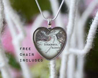 Istanbul heart shape vintage map necklace. Location gift pendant. Free matching chain is included.