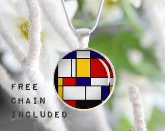 Mondrian necklace. Romantic gift pendant. Free matching chain is included.