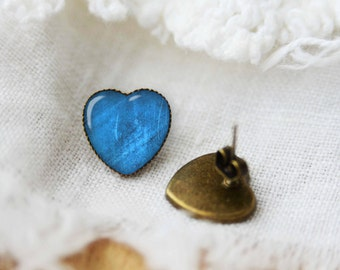 Turquoise heart shaped earrings, silver plated or bronze stud posts, gift idea