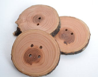Large Handmade Applewood Buttons. Reclaimed Wood.