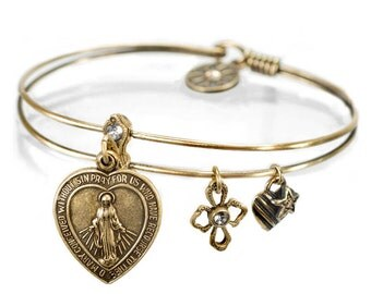 Lord's Prayer Bracelet, Christian Bracelet, Religious Bracelet, Virgin Mary, Charm Bracelet, Bangle Bracelet, Christian Jewelry BR376