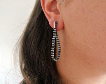 """Oxidised Sterling (925) Silver """"Track"""" Earrings by CJC Jewellery"""