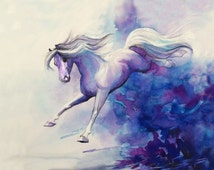 Watercolor Horse Art, Watercolor Horse  Drawing, Watercolor Pen and Ink Painting, Blue and White Art, Horse Gift, Gift for Her, Fine Art