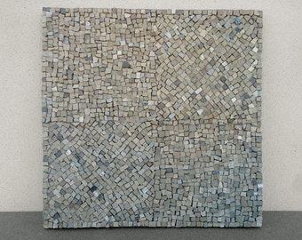 mosaic panel, dim. cm 35 x 35, texture, mosaic of natural stones, pebbles and venetian enamels.