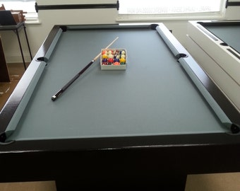 9Ft Pool Table with Steel Grey Felt and Finished with a Black Onyx Paint !