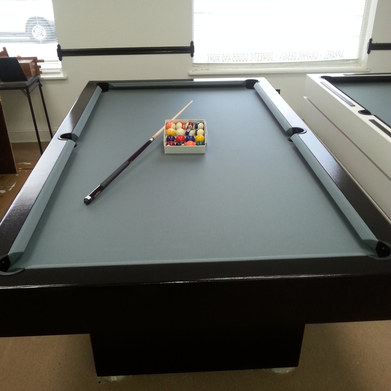 9Ft Pool Table with Steel Grey Felt and Finished with a Black