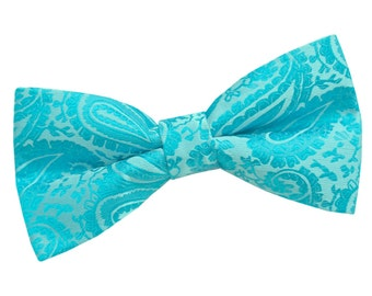 Paisley Turquoise Bow Tie