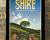 THE SHIRE Lord of the Rings Hobbit Travel Poster Vintage Print Wall Art House Warming New Apartment