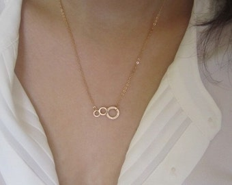 circle necklace,3 circle necklace, gold plate, 18k gold plate, matte gold