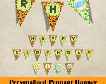 jungle animals pennant banner - customized with name