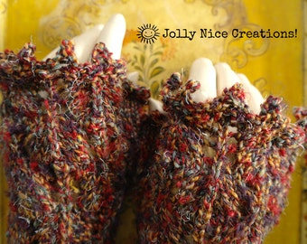 RUSSET LACE hand-knitted lacy fingerless gloves in sunset shades of rust, yellow and grey-blue - One Size - Steampunk/Boho - FREE Uk postage