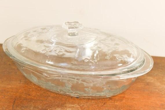 Vintage Anchor Hocking Savannah Floral Covered Casserole Dish