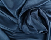 "Midnight Blue Charmeuse Bridal Satin Fabric for Wedding Dress 60"" inches By the Yard Charmuse"