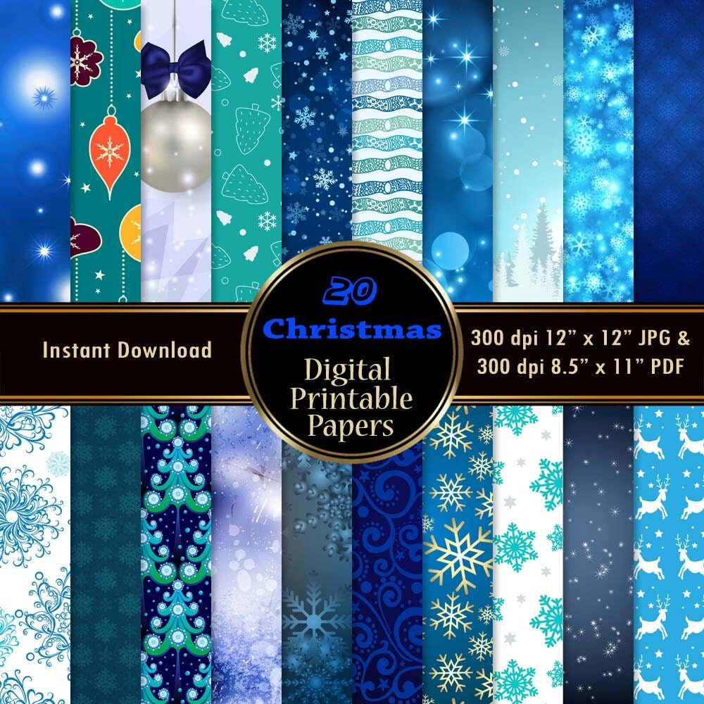 Printable paper backgrounds christmas - Blue Christmas Digital Paper Background Graphic Pack Printable 20 Christmas Scrapbook Paper Snowflake Tree Winter Download 12x12 Jpg Pdf