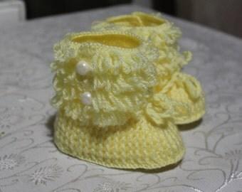Crochet Yellow Baby Shoes