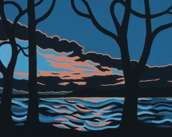 Hudson River Painting. Hudson Valley Sunset.  Semi-Abstract Acrylic Painting. Wall Art. Home Decor. Artist Eva Tormey